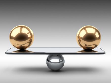 Balanceren tussen twee grote gouden bollen. 3d illustratie op een grijze achtergrond. Stockfoto