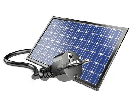 socket: Solar panel with plug, green energy concept. 3d illustration