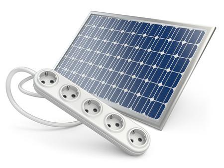 Solar panel with socket, green energy concept. 3d illustration illustration