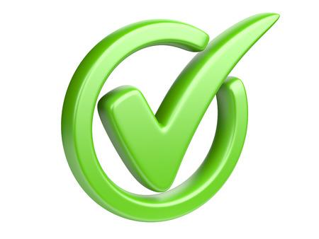 Zielony znacznik wyboru samodzielnie na biały. Zdjęcie Seryjne