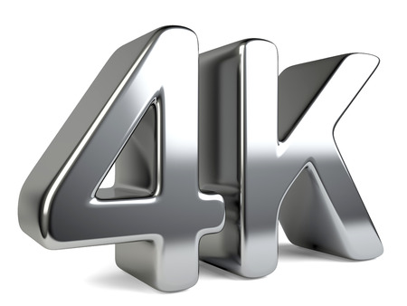 high definition television: 4K ultra high definition television technology symbol. 3D PC icon isolated on white background.