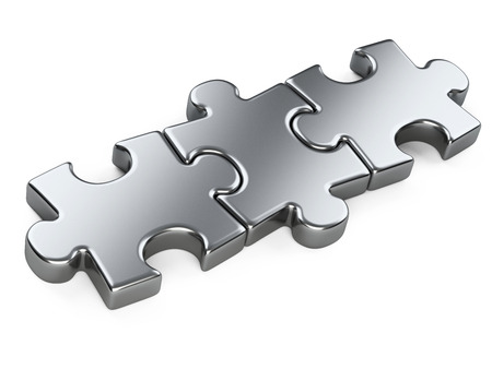 red puzzle piece: three metallic puzzle pieces. 3d illustration isolated on a white background Stock Photo