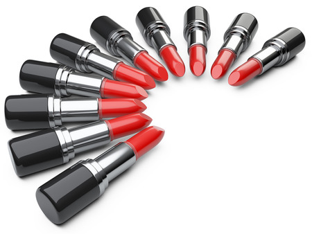 Lipstick: Cây son đỏ. hình ảnh 3D được phân lập trên nền trắng