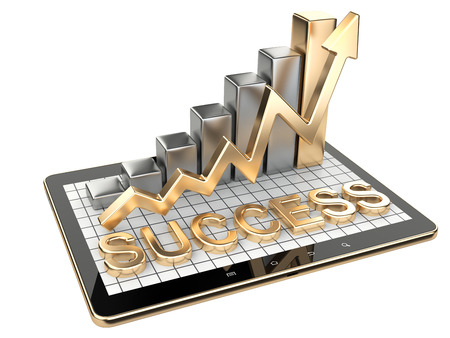 Gold graph and chart on tablet pc - Success concept. 3d image isolated on a white background Stock fotó