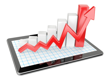Graph and chart on tablet pc - Business statistic concept. 3d image isolated on a white background Stock fotó