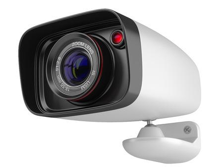 macchina fotografica: Moderno telecamera di sicurezza isolato su sfondo bianco.