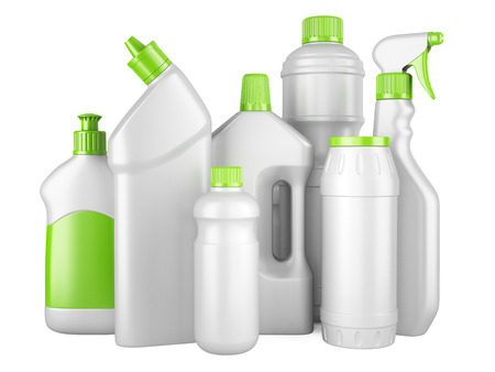 Set of white clean bottles with detergents. 3d image isolated on a white background. Stock fotó