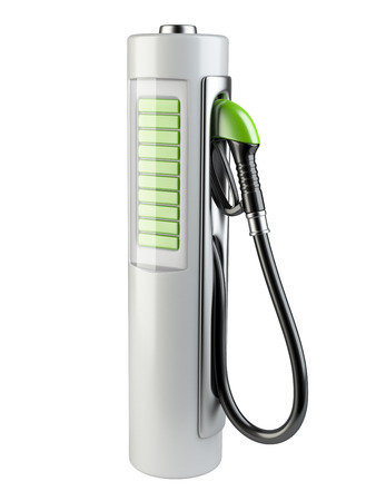 biodiesel: White gas pump - Battery. Use of nonconventional energy sources. 3d render image isolated on a white background. Stock Photo