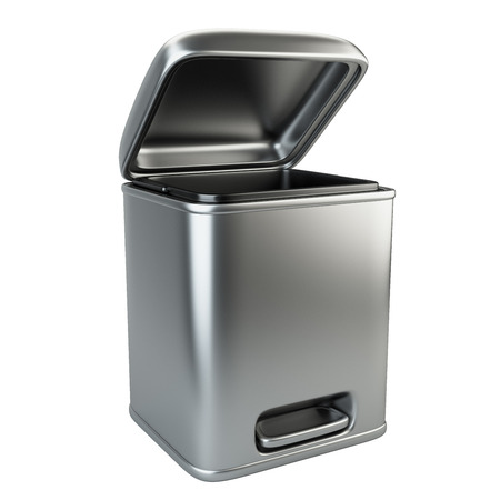 utilize: Open metallic trash can. 3D image isolated on white background