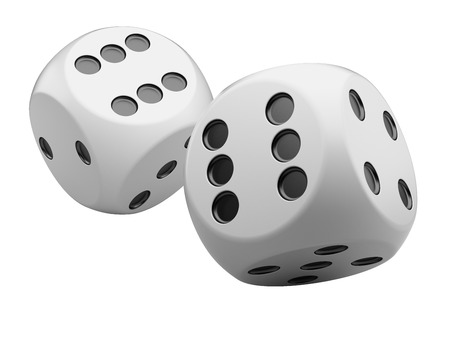 six: 3d game white dices isolated on white background