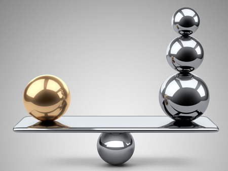 Balance between large gold and steel spheres. 3d illustration on a grey background.