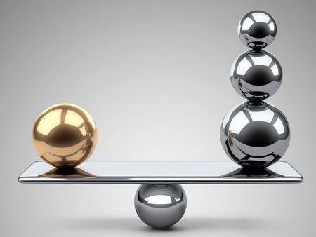 balanza en equilibrio: Equilibrio entre las grandes esferas de oro y el acero. 3d ilustración sobre un fondo gris.