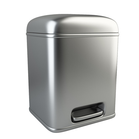 utilize: Closed metallic trash can. 3D image isolated on white background