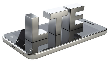 high speed: LTE sign on smart phone screen. High speed mobile web technology. 3d illustration isolated on a white background.