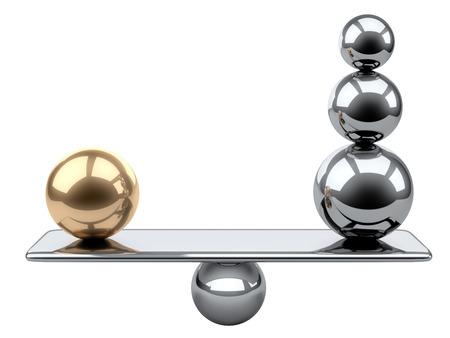 Balance zwischen großen Gold- und Stahlkugeln. 3D-Darstellung auf einem grauen Hintergrund.