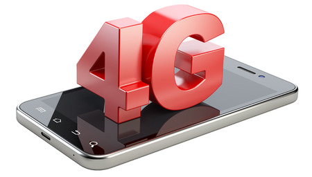 ultra: 4G sign on smart phone screen. High speed mobile web technology. 3d illustration isolated on a white background. Stock Photo