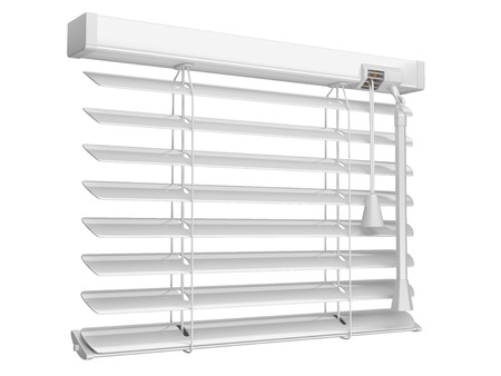a blind: Open white window blinds. 3d illustration isolated on a white background