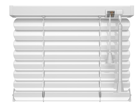 a blind: Closed white blinds. 3d illustration isolated on a white background. Stock Photo