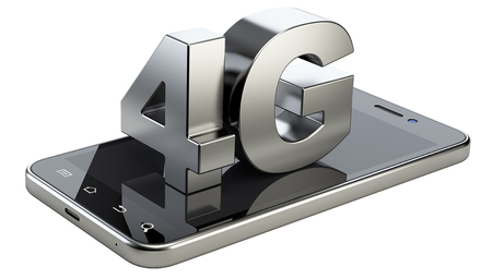 high technology: 4G sign on smart phone screen. High speed mobile web technology. 3d illustration isolated on a white background. Stock Photo