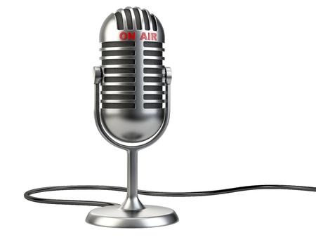 """microfono de radio: Micrófono retro del estilo con el signo """"en el aire"""" aislado en un fondo blanco"""