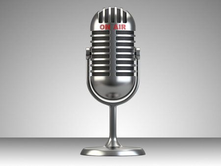 live on air: Retro style microphone with on air sign isolated on a white background Stock Photo