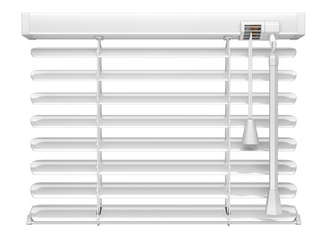 design interior: Open white window blinds. 3d illustration isolated on a white background