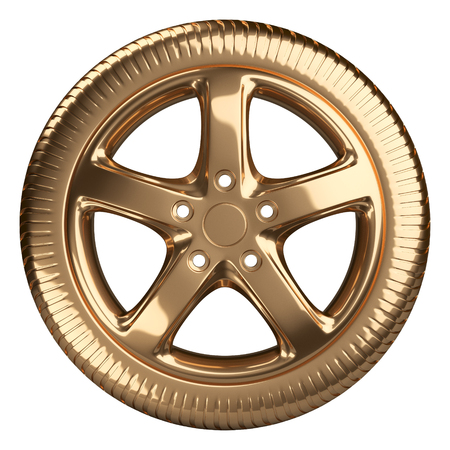 Modern golden car wheel front view isolated on a white background. 3d illustration high resolution Stock Photo