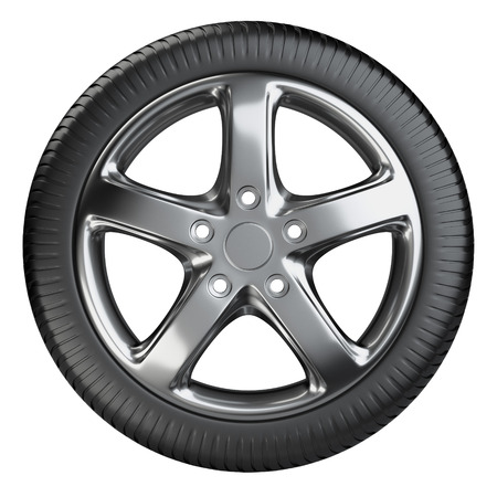 Modern car wheel front view isolated on a white background. 3d illustration high resolution