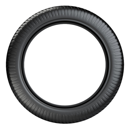 front wheel: Rubber tire wheel front view. 3D image isolated on a white background