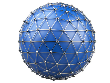sphere base: Abstract background, communication technology. 3d illustration isolated on a white  background. Stock Photo