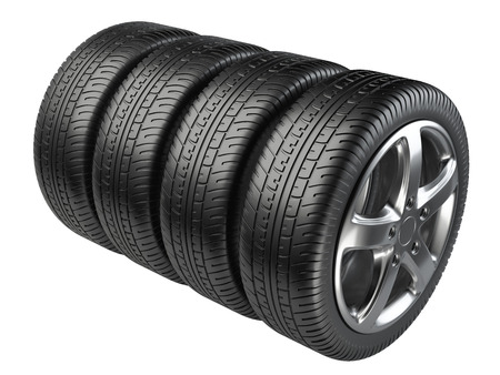 tyre tread: Set of four car wheels isolated on a white background Stock Photo