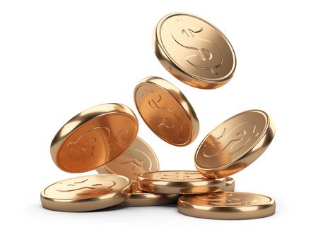 ingresos: monedas que caen de oro aisladas sobre fondo blanco. Concepto de negocio Foto de archivo