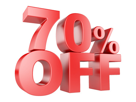 70: 70 percent off icon isolated on white background. Stock Photo