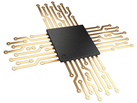 gpu: 3d illustration of cpu chip central processor unit with contacts for connection. Isolated on white background