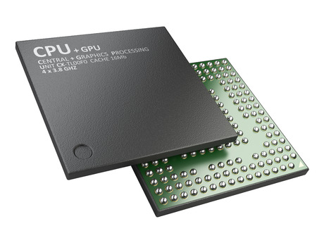 the unit: 3d illustration of cpu chip central processor unit isolated on white background