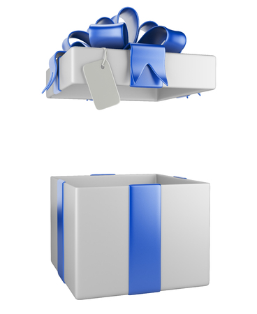 open gift: Opened gift box blank gift tag  isolated on a white background