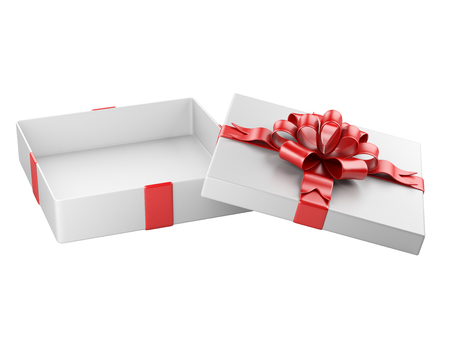 ribbon background: Opened gift box blank gift tag  isolated on a white background