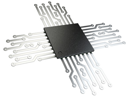computer transistors: 3d illustration of cpu chip central processor unit with contacts for connection. Isolated on white background