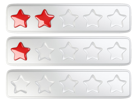 five stars: Five stars rating system. 3d illustration isolated on a white background. Stock Photo