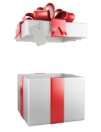 red  ribbon: Opened gift box blank gift tag  isolated on a white background