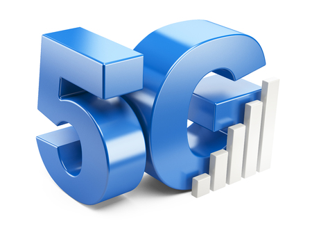 5g: 5G sign. High speed mobile web technology. 3d illustration isolated on a white background. Stock Photo