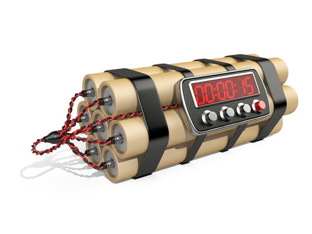 defuse: Bomb with digital clock timer 3D illustration Isolated on white