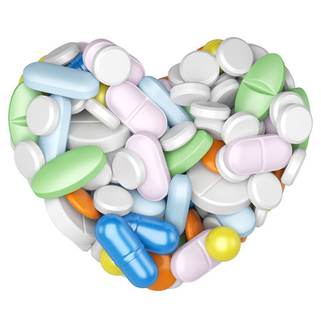 dosage: Heart made of pills and capsules. Medicines effictive concept, isolated on a white background 3d image
