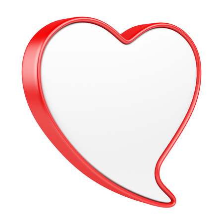 speech: Speech bubble in form heart.  3d illustration isolated on a white background