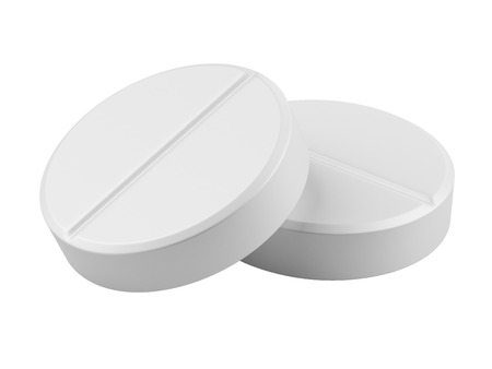 white pills: Close up two medical pills - tablets 3d illustration isolated on the white background Stock Photo