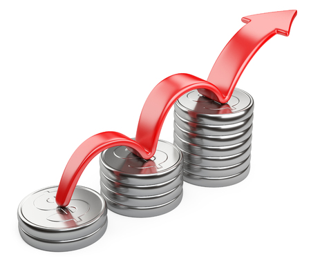silver coins: Financial success concept. Red arrow up and bar chart diagram of silver dollar coins isolated on white background