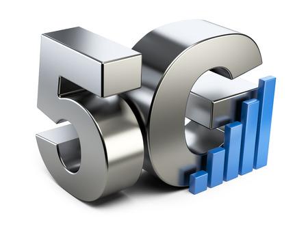 5G stalen bord. Hoge snelheid mobiele webtechnologie. 3D illustratie geïsoleerd op een witte achtergrond. Stockfoto