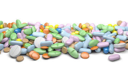 vitamine: A pile of pills and tablets isolated on a white background