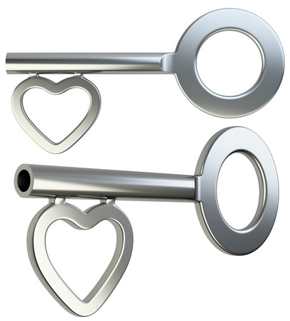 chastity: Silver skeleton key with heart shape isolated on white background 3d render