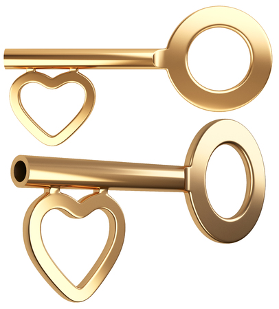 chastity: Gold skeleton key with heart shape isolated on white background 3d render